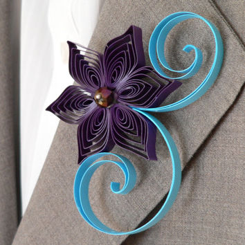 Plum and Aqua Flower Boutonniere, Groomsmen Gift, Purple and Blue Wedding, Trendy Wedding, Alternative Boutonniere