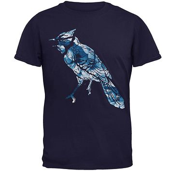Spring Flowers Blue Jay Bird Mens T Shirt
