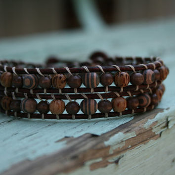 Beaded Leather Double Wrap Wooden Ankle Bracelet