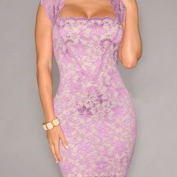Pink Floral Lace Hollow-out See-through Square Neck Cap Sleeve Bodycon Mini Dress