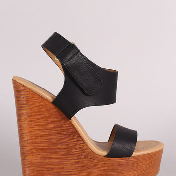 Soda Ankle Strap Open Toe Wooden Platform Wedge