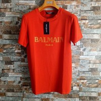 Balmain Unisex Simple Casual Bronzing Letter Cotton T-shirt Couple Short Sleeve Loose Top Tee