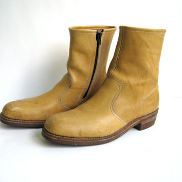 70s yellow campus boots. mens leather ankle boots. zip up boots.
