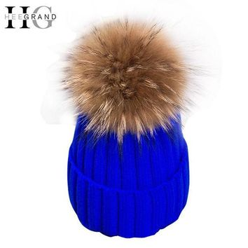 ESBU3C HEE GRAND 2016 Winter Wool Knitted Beanies Caps Fashion Women Fur Pompom Beanie Hats Red Thick Christmas Hats For Women  PMM301