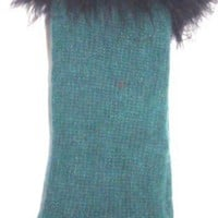 One Size Forest Green Angora Wool Gloves Reinforced By Nylon Fiber Trimmed with Navy Marabou for Wom