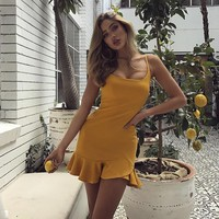 2018 Sexy Sling Solid Color Backless Dress