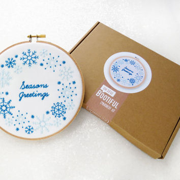 Christmas Embroidery Kit, Seasons Greetings Needlework, Xmas Craft Kit For Adults, DIY Christmas Decoration, Winter Hoop Art, Snow Wall Art
