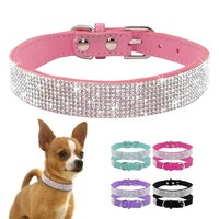 Adjustable Rhinestone Dog Pink Collars
