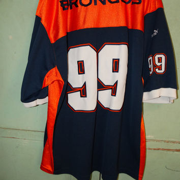 Vintage 1990's Denver Bronocos PUMA jersery, #99, XL Mens Professional Jersey, Orange Crush Broncos