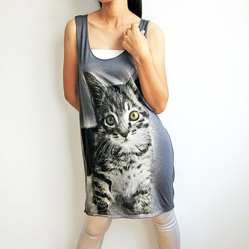 Cat Rock Hand Print Tank Top Dress by TheRockerShop