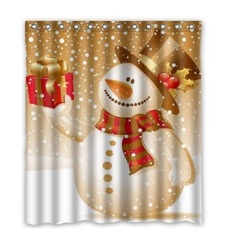 "Fashion Waterproof Polyester Bath Curtains Popular Snowman Christmas Shower Curtains 66""x72""Inch Bathroom Curtain Free shipping"