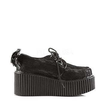 Lace-Overlay Creeper Rave Shoes with Bow & Skeleton Hand Detail