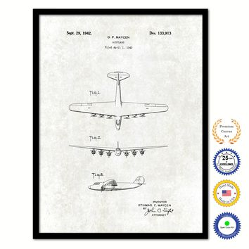 1942 Airplane Vintage Patent Artwork Black Framed Canvas Print Home Office Decor Great for Pilot Gift