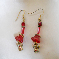 Christmas Angel Earrings - One of a Kind Red Dangle Earrings with Angels
