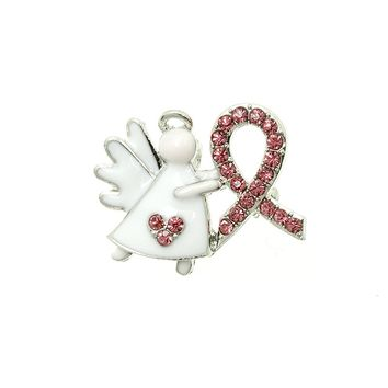 White Breast Cancer Awareness Pink Ribbon Angel Pin And Brooch