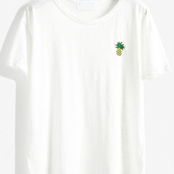 White Pineapple Embroidered Loose T-shirt