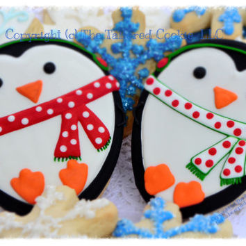 Decorated Christmas Penguin FAVORS  Black, White, Red, Green, Orange, Christmas Cookies