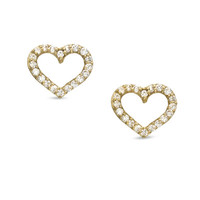Cubic Zirconia Heart Stud Earrings in 10K Gold - - View All - PAGODA.COM
