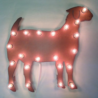 GOAT Lighted Marquee Sign made of Rusted Recycled Metal Vintage Inspired