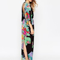 ASOS 70's Kimono Maxi Dress In Placed Black Floral