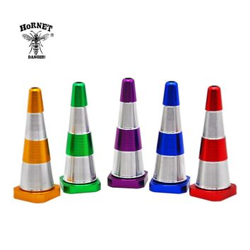 HORNET Premium Traffic Cone Shape Aluminum Smoking Weed Pipe 60MM With Metal Bowl Pipe For Herb Tobacco Smoking Accessories