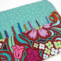Crochet hook case DPN needle case travel roll-up organizer pencil art makeup brush storage purple pink turquoise floral, Ready to ship