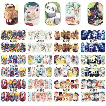 12 Designs Nail Sticker New Animal Cat/Rabbit/Panda/Deer Full Cover Decals for Nail DIY Beauty Watermark Tools A1285-1296