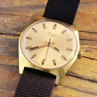 Vintage Poljot mens watch gold plated russian watch ussr cccp