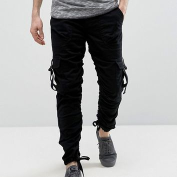 ASOS Slim Cargo Pants With Side Tape In Black at asos.com
