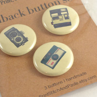 Pinback Button Set of 3: Vintage Camera Illustration Buttons/Pins