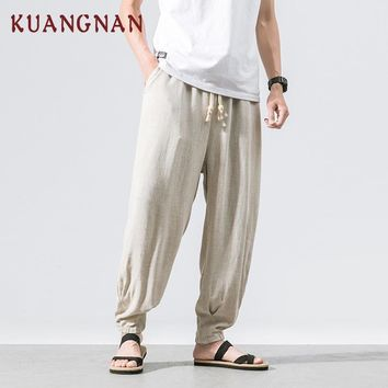 KUANGNAN Chinese Casual Pants Men Solid Cotton Linen Jogger Pants Men Hip Hop Streetwear Men's Pants 2018 Summer Male Trousers