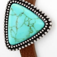 Turquoise/Silver Triangle Leather Bracelet - BRC218TU