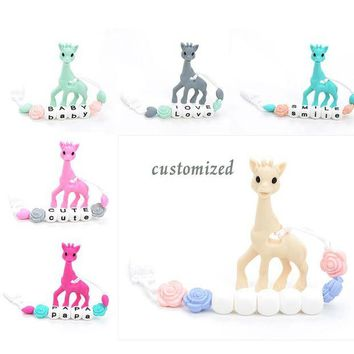 VONG2W Silicone Giraffe Teething Pendant Pacifier Clip Giraffe Teether Toy Food Grade Jewelry Teething Baby Carrier Teething Accessory