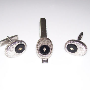 BLACK ONYX SILVER Cuff Link and Tie Bar Set Silver Starburst Pattern with Black Onyx Centers and Rhinestone Accents, Androgynous Jewelry Set