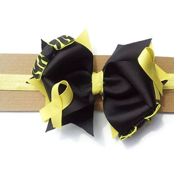 Osteosarcoma headband, Osteosarcoma hair bow, Childhood Cancer Awareness  yellow and black