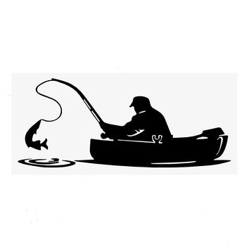 Car Stickers and Decals Decoration 15.2*6.5CM Car Styling Fisherman Fishing On Board Auto Motorcycle Sticker Reflective