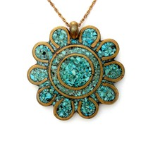 Vintage Mosaic Inlay Turquoise Flower Necklace Gold Filled