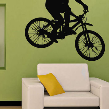 Wall Decals Vinyl Decal Sticker Art Mural Decor Man Cyclist Bicycle Rider Kj285