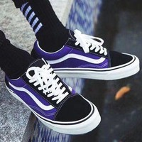 One-nice™ Vans Old Skool Style Fashion casual shoes purple black high quality I