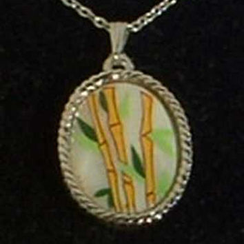 Whiting Davis MOP Hand painted Bamboo Pendant Necklace Original Box