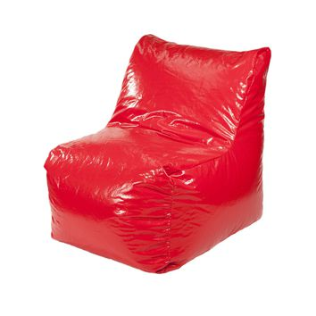 Sectional Wet Look Vinyl Bean Bag Chair - Red
