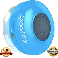 SpeakStick Rechargeable Bluetooth Shower Speaker with Mini USB Connection - Blue