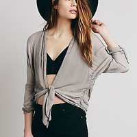 Free People Womens Workman's Washed Blouse
