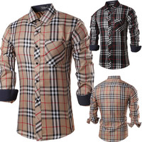 New Style Men's Checked Slim Fit Dress Shirt