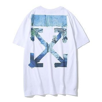 OFF-WHITE 2019 new watercolor oil painting arrow printing men and women round neck half sleeve t-shirt white