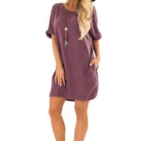 Eggplant Loose Dress with Cuffed Sleeves and Pockets