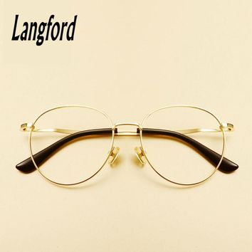langford brand gold round eyeglasses frame optical glasses Vintage large eyewear frames spectacle big hipster myopia 1718012