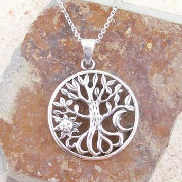 Tree of Life w/ Sun and Moon Necklace in Sterling Silver
