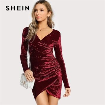 SHEIN Burgundy Party Sexy Solid Ruched Overlap Surplice Crushed Velvet Long Sleeve Pencil Dress Autumn Club Women Dresses