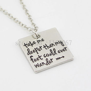 "2015 new arrive Hand Stamped""Take me deeper than my feet could ever wander""Oceans song lyrics Christian jewelry baptism gift"